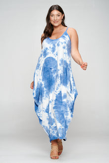 livd plus size boutique spaghetti strap harem dress in blue tie dye