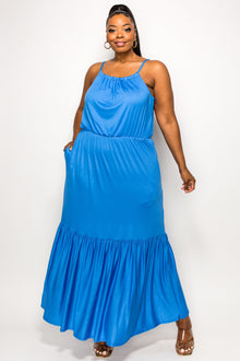 livd apparel plus size boutique cami neck cinched waist ruffled hem maxi dress with pockets in blue