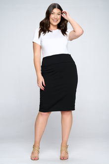 livd apparel plus size boutique basic pencil skirt in black