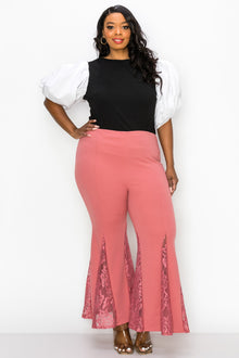 livd plus size boutique lace flare pants in cinnamon mauve pink