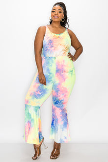 livd plus size boutique bodycon flare jumpsuit in neon yellow tie dye