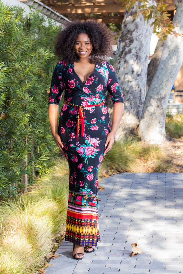 Women's Plus Size Floral Printed Nora Maxi Dress