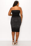 livd L I V D women's trendy contemporary embellished tube mid dress with embellishment in black