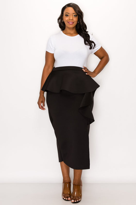 livd L I V D women's trendy contemporary plus size peplum midi skirt with ruffles and leg slit neoprene air scuba fabric in black