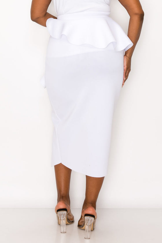 livd L I V D women's trendy contemporary plus size peplum midi skirt with ruffles and leg slit neoprene air scuba fabric in white