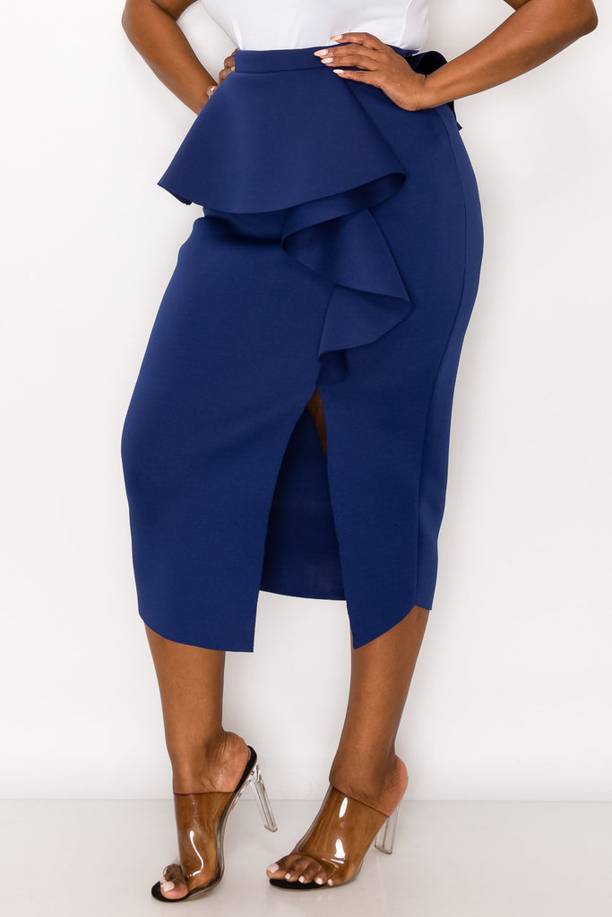 livd L I V D women's trendy contemporary plus size peplum midi skirt with ruffles and leg slit neoprene air scuba fabric in navy