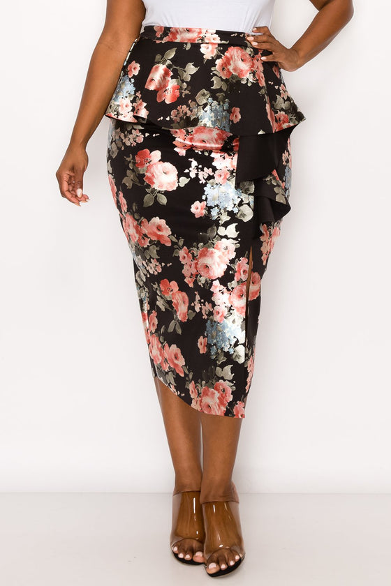 livd L I V D women's trendy contemporary plus size peplum midi skirt with ruffles and leg slit neoprene air scuba fabric in metallic floral foil