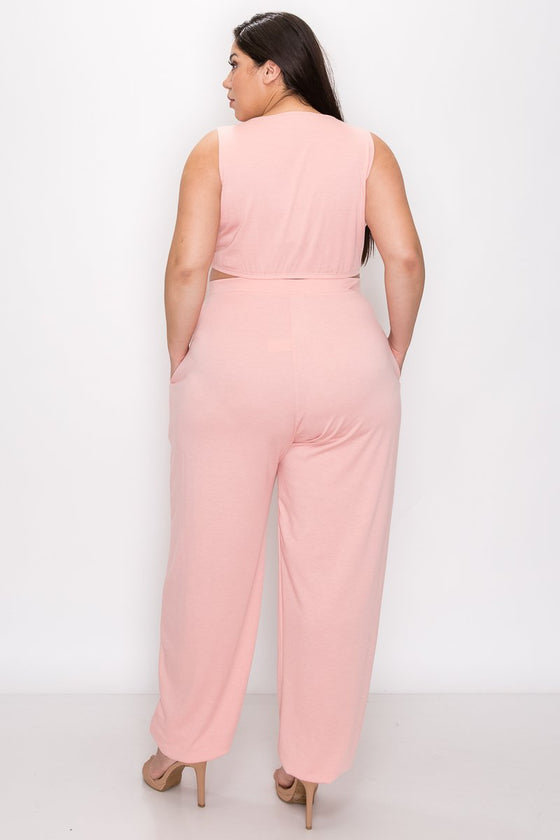 plus size boutique three piece athleisure set crop top, jogger pants with pockets, and cardigan in blush