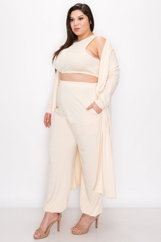 plus size boutique three piece athleisure set crop top, jogger pants with pockets, and cardigan in stone