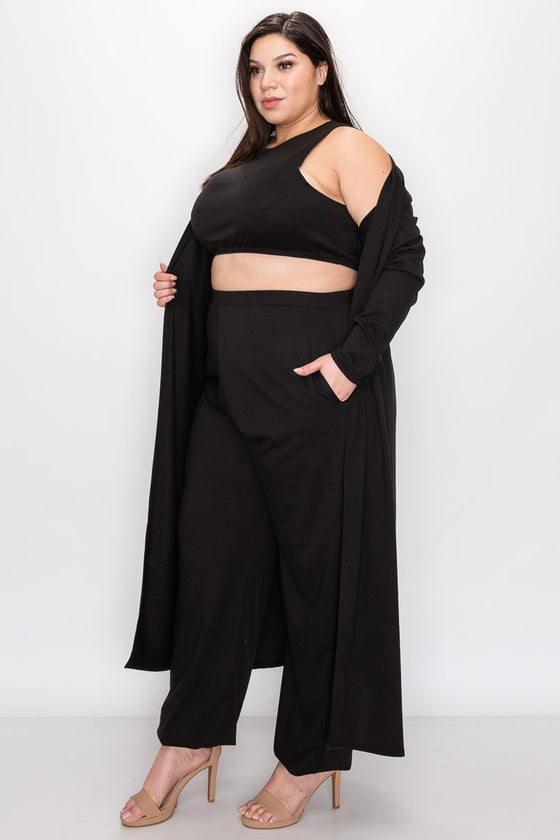 plus size boutique three piece athleisure set crop top, jogger pants with pockets, and cardigan in black