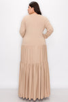 livd L I V D contemporary women's plus size boutique plus size clothing double tiered dress with long sleeves and crew neck maxi dress in camel taupe