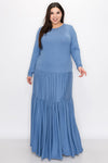 livd L I V D contemporary women's plus size boutique plus size clothing double tiered dress with long sleeves and crew neck maxi dress in cornflower blue