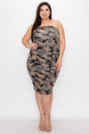 plus size boutique brushed hacci sweater tube dress in camo