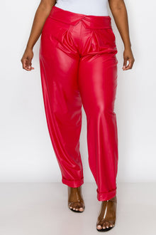 livd L I V D women's trendy plus size fashion made in USA contemporary collared faux leather pants pu with large outside pockets and folded ankle cuff in red