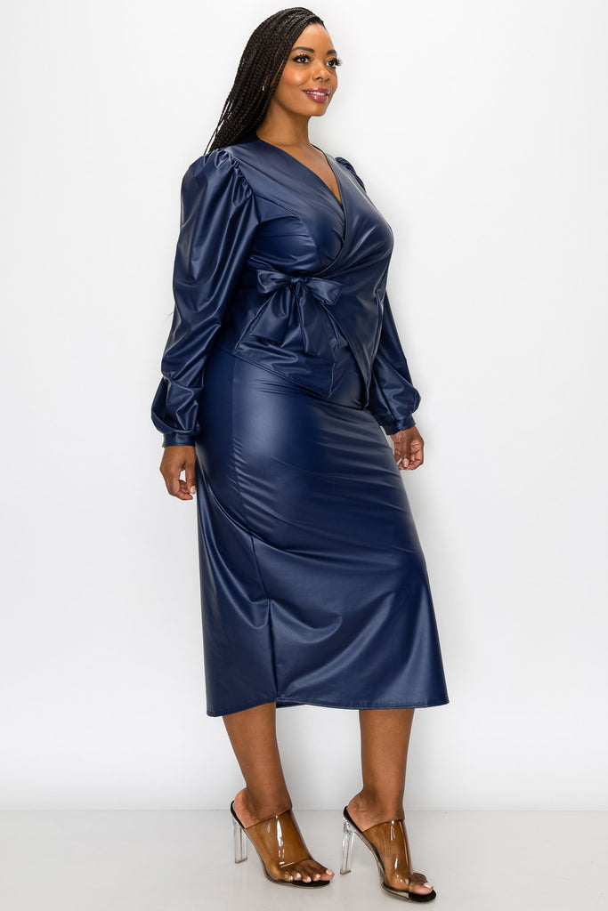 livd L I V D women's trendy plus size fashion made in USA contemporary faux leather peplum wrap top and slit midi skirt in navy