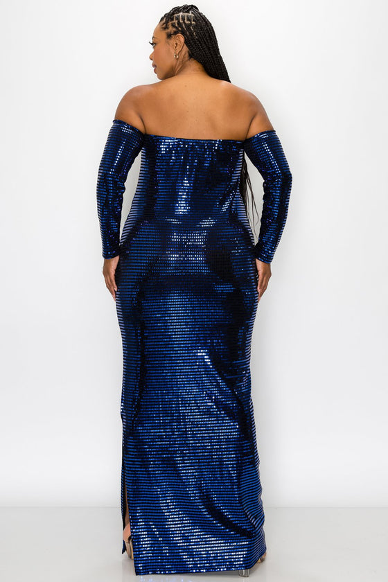 livd L I V D women's trendy contemporary plus size embellished tube maxi dress heat transfer sequins and arm sleeves in royal blue