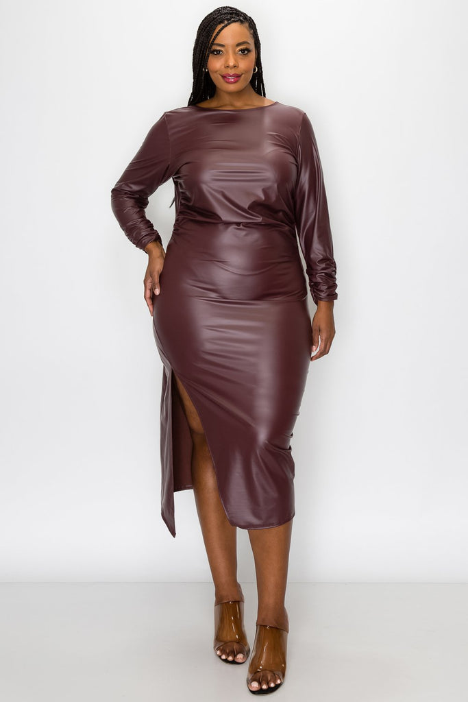 livd L I V D women's trendy plus size fashion contemporary faux leather ruched sleeves with open back and leg slit in burgundy made in USA