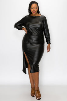 livd L I V D women's contemporary trendy plus size fashion faux leather ruched sleeves with open back and leg slit in black made in USA