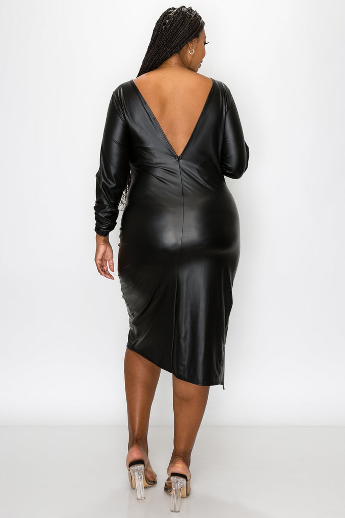 livd L I V D women's trendy plus size fashion contemporary faux leather ruched sleeves with open back and leg slit in black made in USA