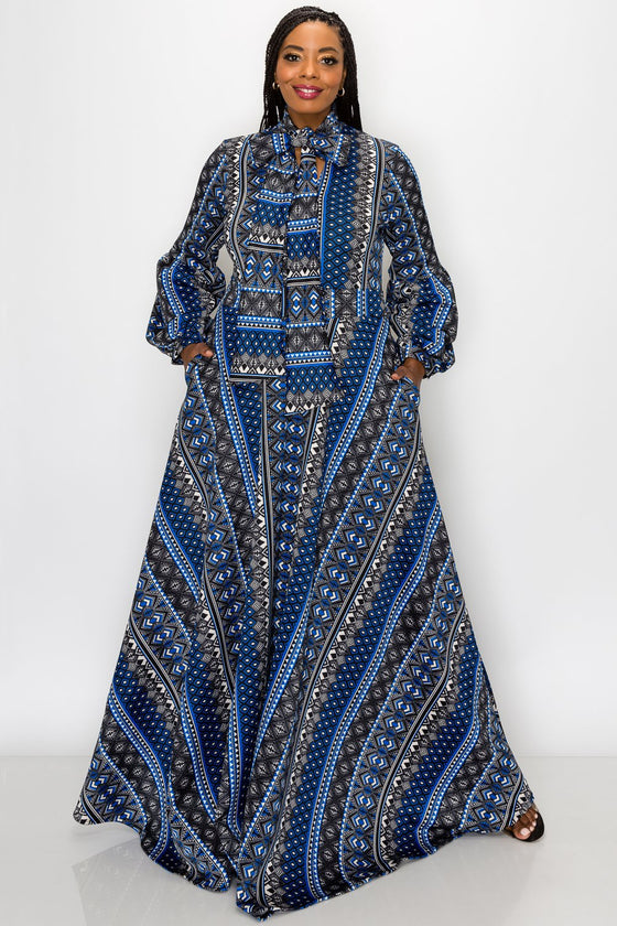plus size fashion women's contemporary african american blue ethnic tribal gown with pockets balloon sleeves and neck ribbon
