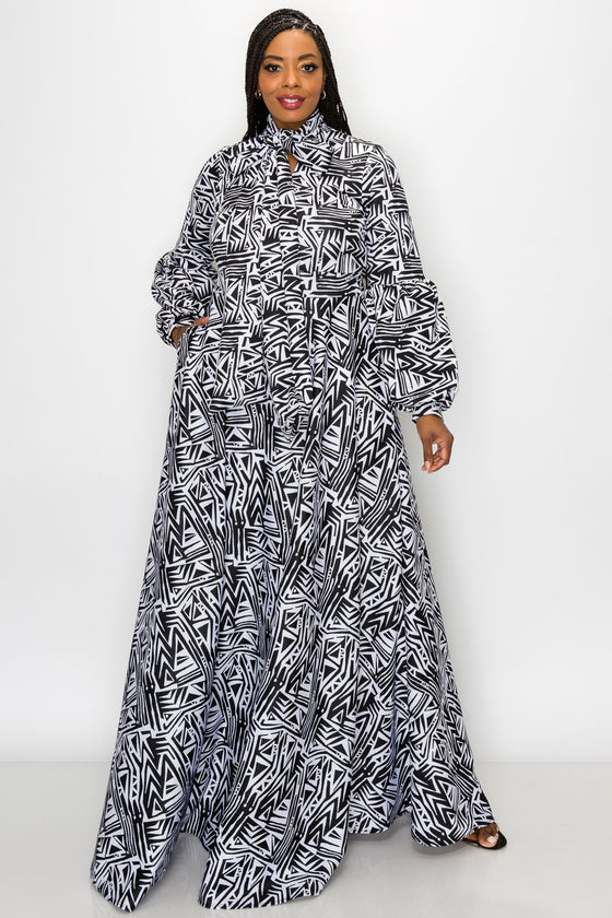 plus size fashion women's contemporary african american black and white ethnic tribal gown with pockets balloon sleeves and neck ribbon
