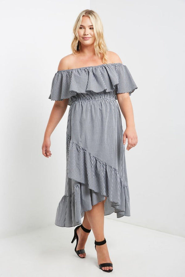 Women's Plus Size Off Shoulder Gingham Maxi