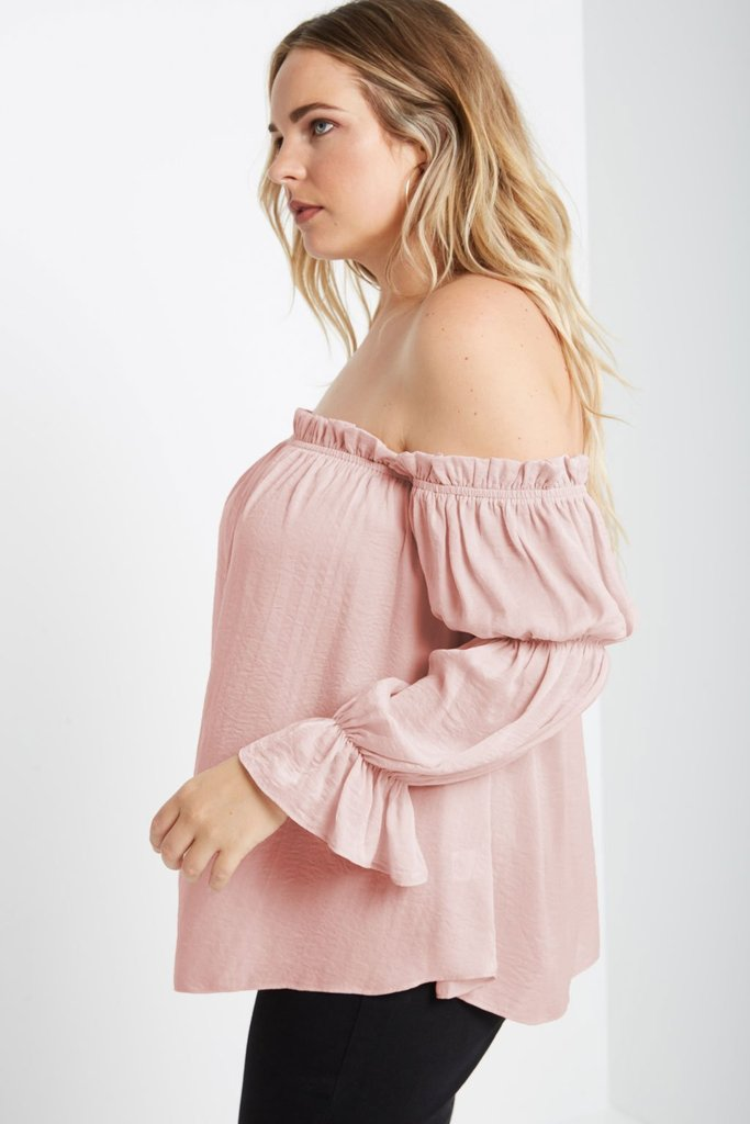 Women's Plus Size Bubbles Off Shoulder Top