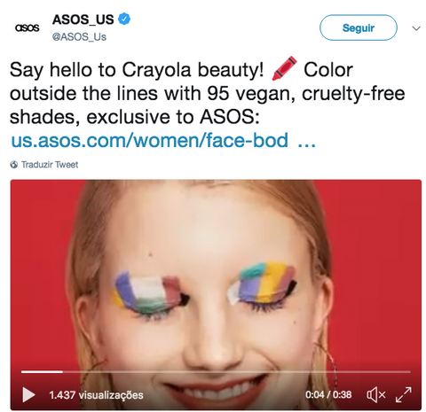 Tweet da Asos Beauty - Face It Vegan Beauty