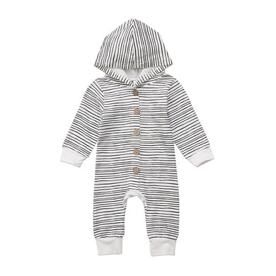 Long Sleeve Striped Hooded Romper
