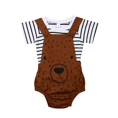Bear Overalls Romper Set