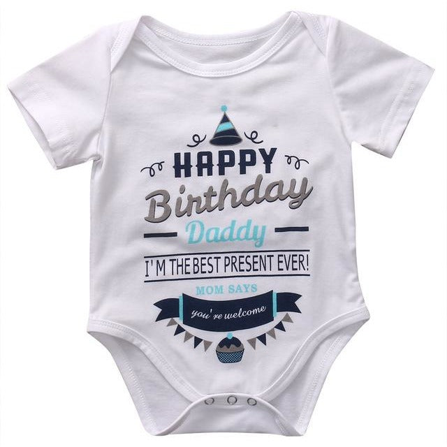 Short Sleeves Birthday Onesie