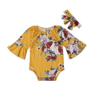 Flare Long Sleeve Floral Romper Set