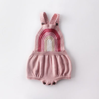 Sleeveless Rainbow Knitting Romper Pink