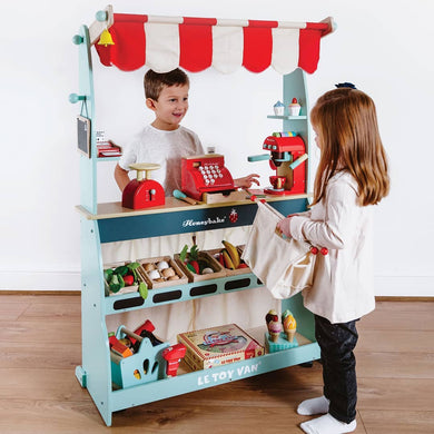 Le Toy Van – Honeybake Wooden Shop & Cafe  (Reversible to create two stories, a shop or a puppet theatre)