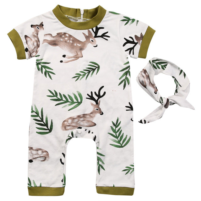 Short Sleeve Bebes Bodysuit Jumpsuit Deer