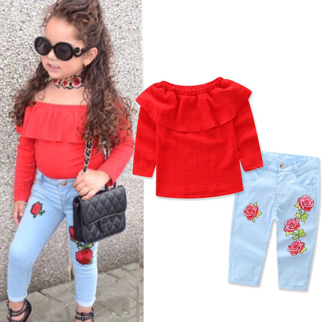 Off shoulder Flower Denim Set