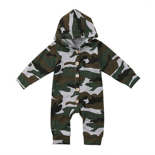 Long Sleeve Camouflage Hooded Romper