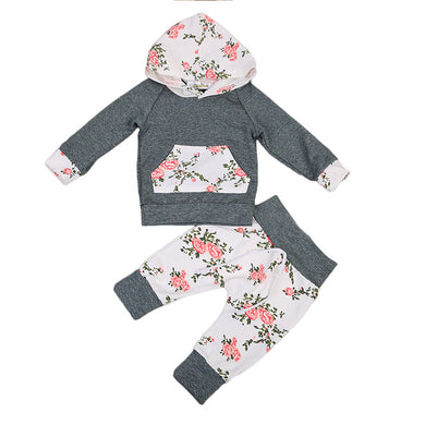 Floral Long Sleeve Hooded 2pc Set