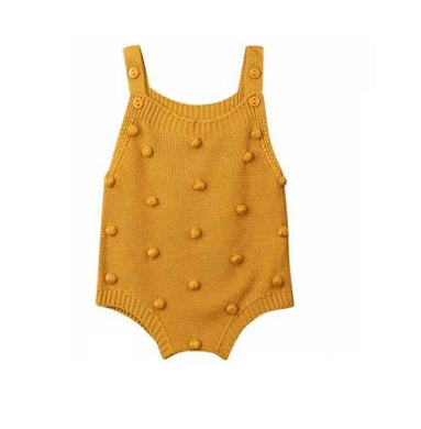 Sleeveless Ball Knitting Bodysuit Mustard