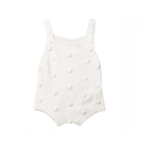 Sleeveless Ball Knitting Bodysuit White