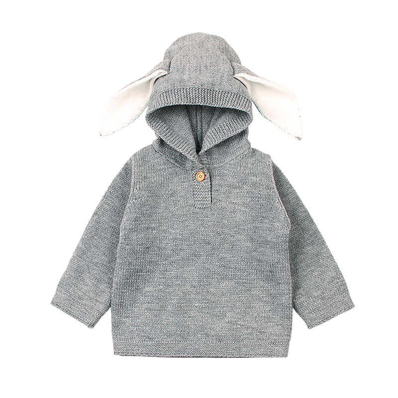 Bunny Ear Hooded Knitted Sweater