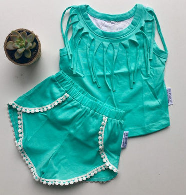 MINT FRINGE VEST WITH FLORAL LACE BACK Set