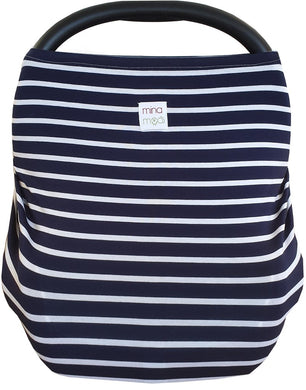 Navy stripe fitted infant car seat cover