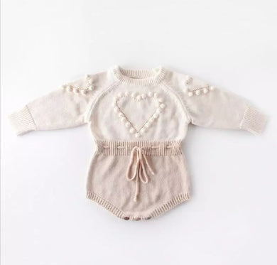 Long Sleeve Heart Knitting Romper