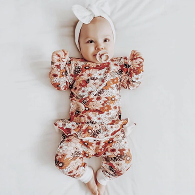 Long Sleeve Autumn Floral Romper