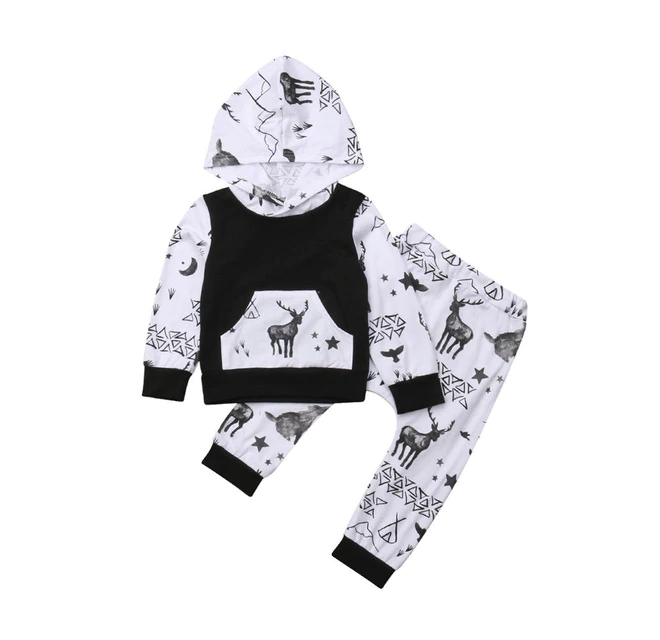 Hooded Deer Print Tracksuit