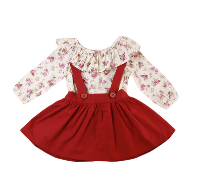 Ruffle Cape Collar Floral Overall Dress
