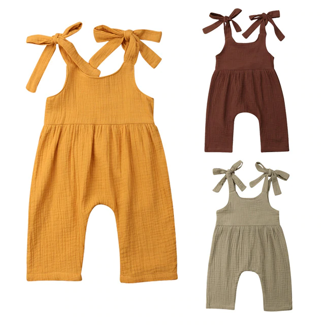 Sleeveless Solid Color Cotton Strap Romper