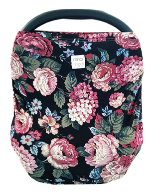 Midnight bloom fitted infant car seat cover