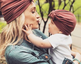 Mom and Me Baby Turban Cap